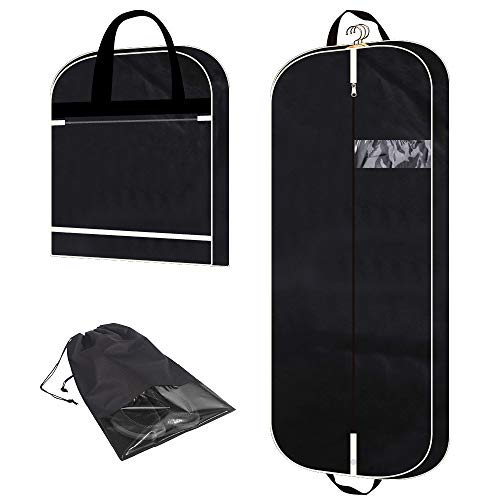 """54"""" Garment Bag with Extra Large Pockets for Travel, Gusseted Suit Cover Mens Womens Foldable Hanging Bags for Clothes Shirts Dresses Coats"""