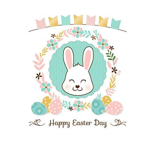 Amosfun Etiqueta de Conejo de Pascua Decoración de la Habitación de los Niños Regalo de Pascua Pascua Decoración de Fiesta Autoadhesiva Conejo de Dibujos Animados Etiqueta de La Pared 36 * 42 cm