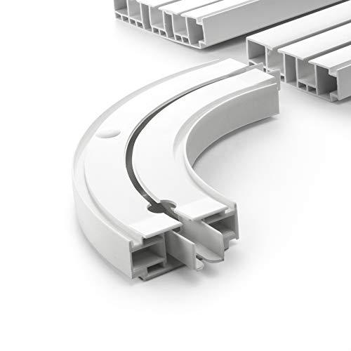 DQ-PP GARDINENSCHIENEN und Rundbogen Set | 100cm | PVC | 1-läufig | Weiss | inkl. Befestigungsmaterial | 1m | Gardinen Schiene Vorhangschienen