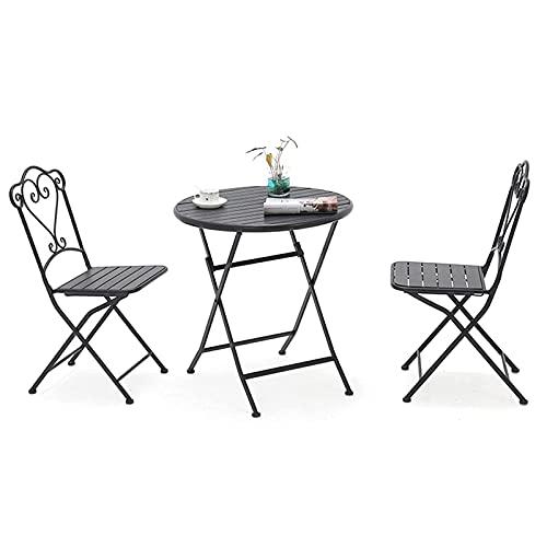 N&O Renovierungshaus Dreiteiliges Outdoor-Balkon kleines Tisch- und Stuhl-Set faltbares Tavernen-Set Set Balkon-Gartenmöbel-Set tragbares Metallhaus dekorativer Sitz für Hinterhof-Veranda Garten am