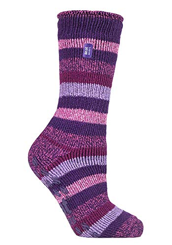 HEAT HOLDERS - Damen Warme Anti Rutsch Stopper Thermo Socken mit ABS Sohle 2.3 TOG (37-42 EU, Lila Streifen (Juniper))