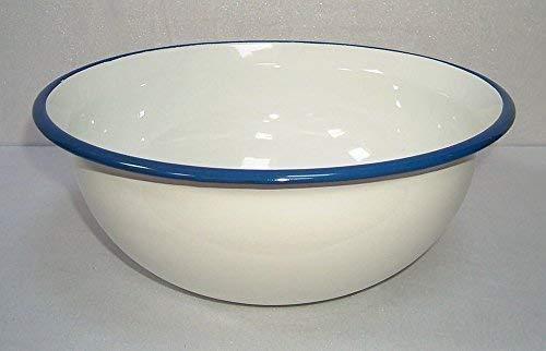 Esmalte de lavabo, de mezclar, cuenco de cocina de colour blanco - de colour azul de 36 cm