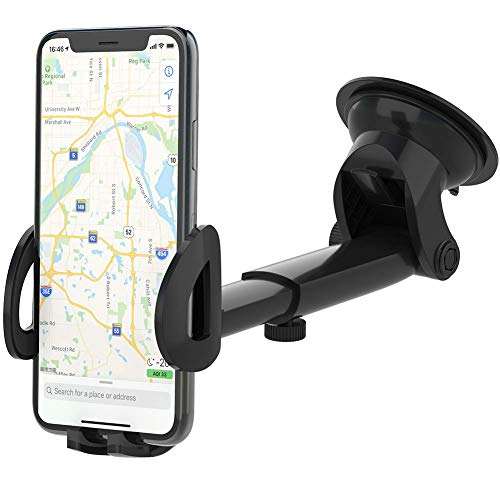 bokilino Universal Car Phone Holder for Car Dashboard Windshield Air Vent Long Arm Strong Suction Cell Phone Car Mount Fit with iPhone 11 Pro/Xs/Xs Max/8/8Plus,Samsung,Huawei,LG and More(Black)