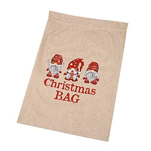 xiuginFU Bolsas multifuncionales para envolver regalos sin rostro con letras de hombre viejo de Navidad bolsas de lino con cordones para envolver regalos bolsas de lino de Navidad con cordones