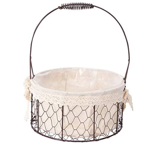 GPWDSN Wicker Picknickkorb, Hochzeit Eisen Blumenkorb Hochzeitszeremonie Party Lace Flower Basket Home Decoration