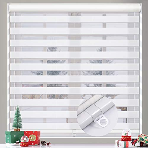 """MiLin Cordless Zebra Blinds Window Blinds and Shades Dual Layer Roller Shades, Custom Cut to Size, Sheer or Privacy Light Control, Day and Night Window Curtains - Snow White 17 3/8"""" W x 72"""" H"""
