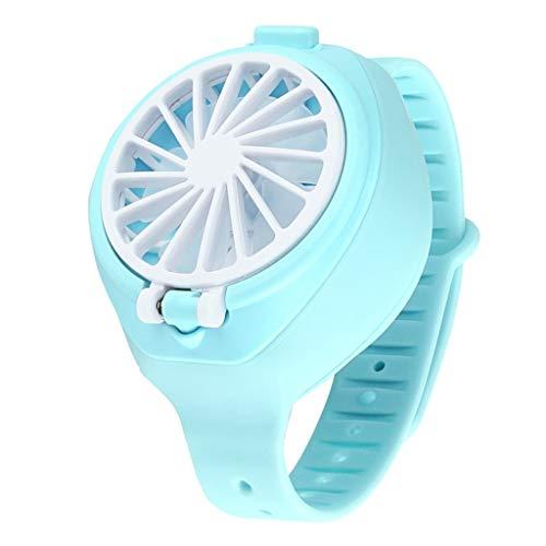 Fenteer Ventilador para Niños Reloj Portátil Pequeño Ventilador De Muñeca Juguetes USB Regalo Recargable - Azul