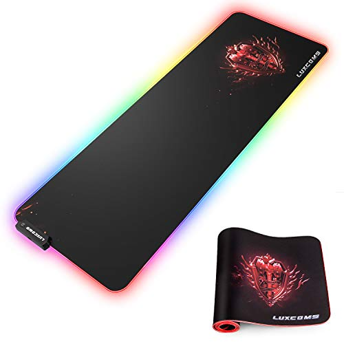 LUXCOMS RGB Soft Gaming Mouse Pad Large , Oversized Glowing Led Extended Mousepad ?Non-Slip Rubber Base Computer Keyboard Pad Mat?31.5X 11.8in