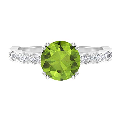 Anillo de peridoto solitario de 8 mm, D-VSSI Moissanita Anillo de compromiso, anillo solitario con piedra lateral, anillo de boda nupcial, 14K Oro blanco, Size:EU 70