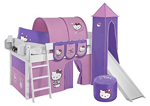 Lilokids Lit surélevé ludique IDA 4105 90x200 cm Hello Kitty Lilas - Lit surélevé évolutif Blanc laqué - avec Tour, Toboggan et Rideaux