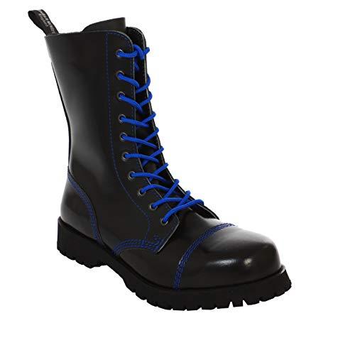 Boots & Braces - 10 Loch schwarz mit blauer Naht Stiefel Rangers