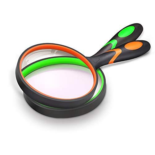 Lente d'ingrandimento 10X, Lente di lettura portatile con impugnatura in gomma morbida antiscivolo, Lente d'ingrandimento da 75 mm, (1x Verde / 1x Arancione)