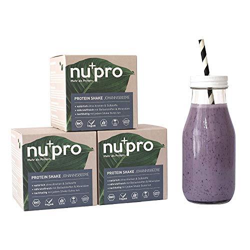 NUCAO nupro Veganes Bio Protein Pulver -Johannisbeere- Ganzheitlicher Eiweiß Shake aus Pflanzlichen Proteinen zur Versorgung von Muskulatur & Darmflora, 200 g