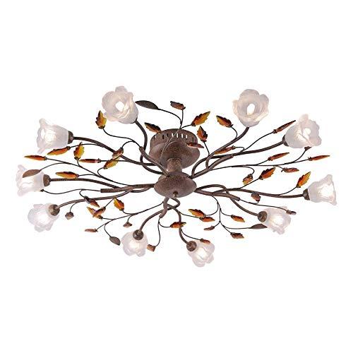 SellTec Landhaus-Leuchte, rustikale Deckenleuchte Florentiner Astleuchte mit Blättern Ranken, Fassung G9 LED fähig, Rost-Optik (90cm)