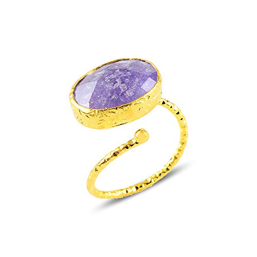 Eye Catching Tumbled Natural Purple Jade Gemstone Ring | Adjustable Open Ring with 24k Gold Plated All Around | Elegant Jewellery Gift For Her