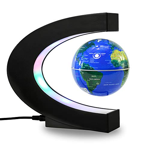 Magnetic Levitation Floating Globe Mysteriously Suspended in Air World Map (C-Shape-Blue)