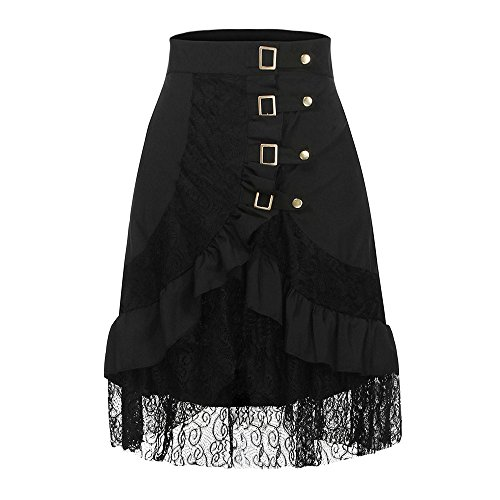 Gusspower Mujer Punk Rock Gótico Faldas De Encaje Asimétrico Falda Negro (Ropa)