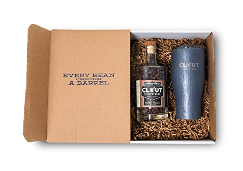 Clout Coffee Crate, Bourbon Barrel Aged Coffee Gift Box, 10 Ounce Dark Roast Whole Bean Coffee in Glass Bottle, 27 Ounce Laser Engraved Rustic Gray Tumbler with Clear Push Lid
