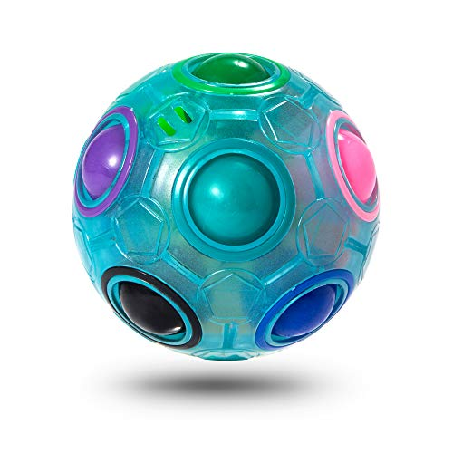 ROXENDA Rainbow Ball Magic Ball, Juego de Habilidad Bola de Rompecabezas - Cerebro Teaser y Bola de Estrés para Niños y Adultos (Azul)