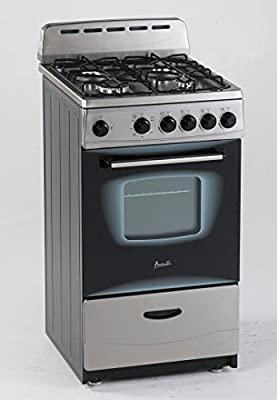 "Avanti GR2013CSS Gas Range, 20"", Black,Stainless Steel"