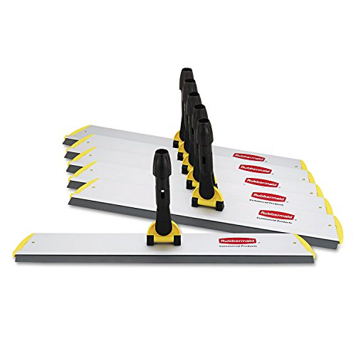 Rubbermaid Q570 HYGEN Quick Connect S-S Frame, Squeegee, 24w x 4 1/2d, Aluminum, Yellow