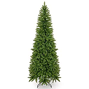 Takuvan 5ft Artificial Pencil Slim Christmas Tree, Includes Metal Stand, Kingswood Fir, Easy Assembly with Hinge