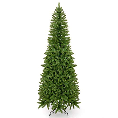 Takuvan 6ft Artificial Pencil Slim Christmas Tree, Includes Metal Stand, Kingswood Fir, Easy Assembly with Hinge