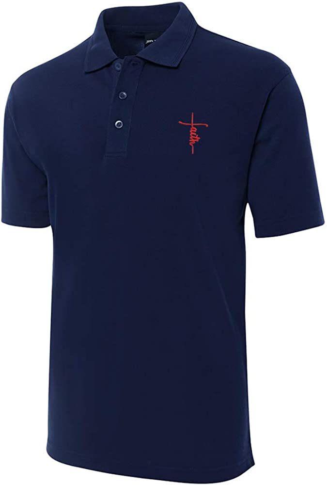 Jesus Cross Embroidery Shrot Sleeve Cheap mail order shopping Shirts Over item handling Men' Polo Embroidered