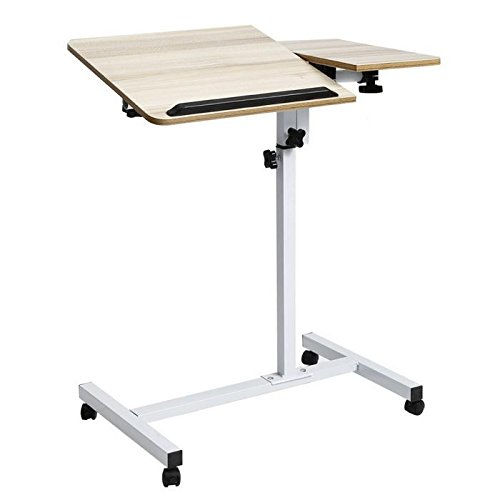 Laptop Stand, Wood Mobile Laptop Desk Angle Height Adjustable Moveable Bedroom Table Stand