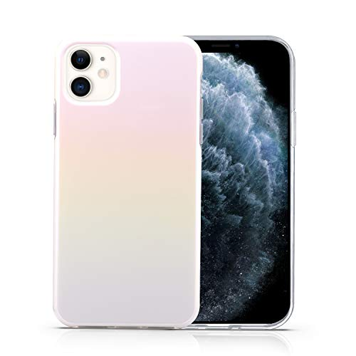 CAOUME iPhone 11 Case - White Holographic Cute Gradient Shiny - Protective Stylish Cases for Apple Phone11 (2019 Release) - Cover with Silicone Bumper Defender Camera and Screen