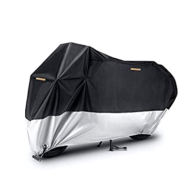 JUSTTOP Motorcycle Cover, All Season Waterproof Outdoor Protection, 210D Oxford Cloth and Tear Proof, fits for 87 Inch Motorcycles like Honda, Yamaha, Suzuki, Harley and More (Black and Silver)
