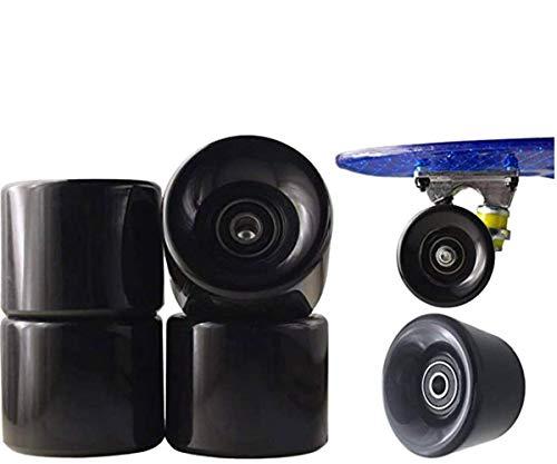 Skateboard Board Wheels Longboard Wheels for Penny Soft weehls ABEC 7 Ball Bearing Retro & Mini Cruiser Skateboard Board 60 x 45 mm Long Ball Bearing Shop Roller blade Skateboard 4 pack (Black)