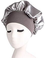 LAIYYI 1 st. enfärgad, mjuk sovmössa för kvinnor, satin, mycket elastisk, bred krage, sovmössa för bad, hårvård.