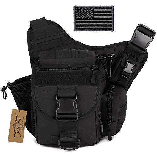 ArcEnCiel Tactical Camera Messenger Bag Military Shoulder Backpack EDC Sling Pack for Hiking Camping Trekking Motorcycling with Patch (Black)