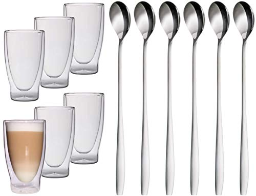 Feelino Lattechino Grande 400ml dubbelwandige longdrink, cocktail, latte macchiato-glazen, 400 ml XXL thermo-glazen met zweefeffect voor thee, koffie, cocktails