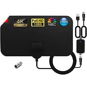 RISENG Antena TV Interior, Antena de TV HD Digital Interior con Amplificador de señal, Alcance de hasta 120 Millas, 4K 1080P HD VHF UHF Compatible con Canales Locales.