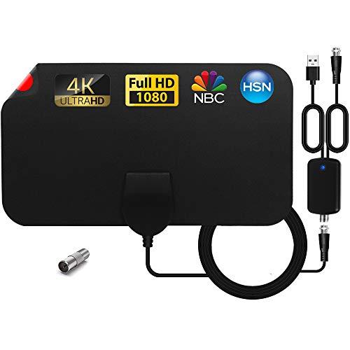 SUBSTU Antena TV Interior, Antena de TV HD Digital Interior con Amplificador de señal, Alcance de hasta 120 Millas, 4K 1080P HD VHF UHF Compatible con Canales Locales.