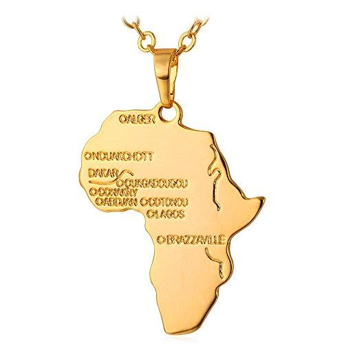 U7 Colgante de Oro 18k Colgante Grande para Hombre con Cadena Fina Hiphop diseño Mapa de Africa con Ciudades y ríos Principales africanos