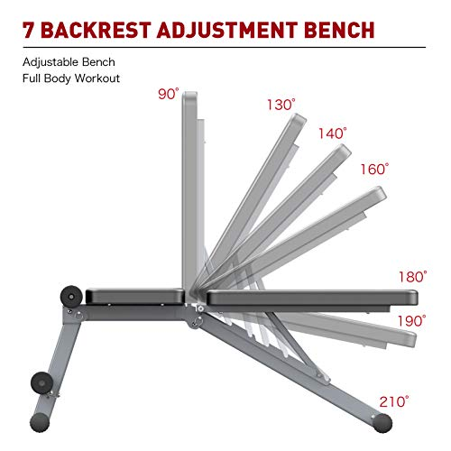 JOROTO Adjustable Weight Bench Multi-purepose Foldable Bench Exercise Bench Workout Bench for Full Body Home Gym (Grey)