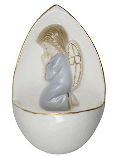Porzellan - Weihkessel Weihwasserkessel mit Goldrand Engel betend blau 10,5 cm
