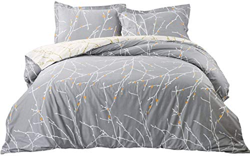 Bedsure Duvet Cover with Shams Set with Zipper Closure - 3 Pieces Printed Pattern Comforter Insert Cover King Size (104x96 inches) - 110 GSM Ultra Soft Microfiber Fabric, Grey/Ivory