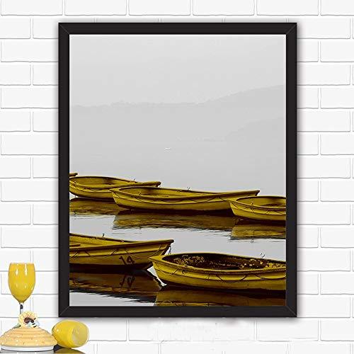 XCSMWJA Lake Fog Boot Gebirgslandschaft Home Decor Nordische Leinwand Kunst Malerei Druck Minimalistisches Wohnzimmer Wandkunst Hintergrundbild 60x80cm