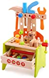 Spiekind Wooden Power Tool Workshop - Building Tools Sets Pretend Play Toys for Toddlers - Construction Workbench with Wrench,Screwdriver, Miter Saw and Hammer - Educational Gift for Kids Age 3 and Up