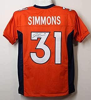 Justin Simmons Autographed/Signed Denver Broncos Orange XL Jersey JSA