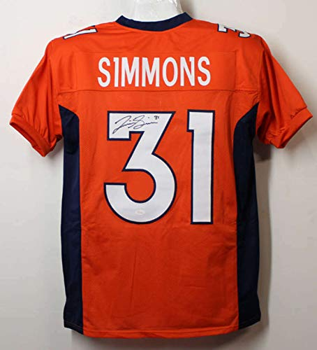 Justin Simmons Autographed/Signed Denver Broncos Orange XL Jersey JSA