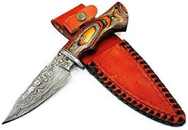 M Knives Damascus Knife with Leather Sheath Bushcraft Knife Hunting Knife With Orange and Gray product image