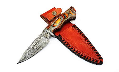M Knives -Damascus Knife Orange Fabric Handmade Handle. Leather Sheath - Bush craft Knife - Hunting...
