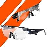 Bonplus BP | Gafas lupa con luz LED | Marco flexible y ligero | 160% de aumento | Para leer como para realizar cualquier trabajo o manualidad
