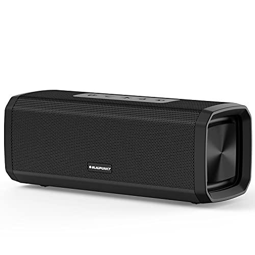 Blaupunkt BT150 Portable Wireless Bluetooth Speaker with Dual Passive Radiators & Rich Deep Bass, Lightweight, IPX5 Splashproof, Built-in Mic, Black, 16W
