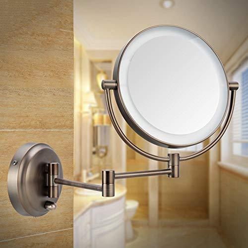 QXHELI Badkamerspiegel dubbelzijdig met LED-spiegel, wandlamp met opvouwbare cosmetica, telescoopspiegel, badkamerspiegel (2 kleuren optioneel) (kleur: brons, 8 inch)